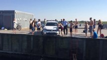 Kids Slide on cop car and jump in the water! So funny water play!