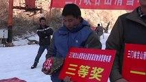 Course de ski d'animaux domestiques en Chine: une tortue bat un lapin
