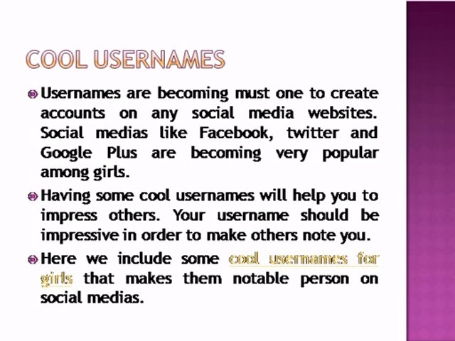 Ideas To Create Cool Usernames For Girls - video dailymotion