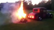 Tunning Car lighting up a fire! Crazy!