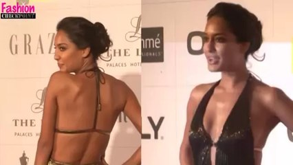 Lisa Hayden SIZZLES in a BACKLESS & DEEP NECK gold gown