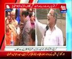 Karachi Leader of MQM Haider Abbas Rizvi addressing with protesters