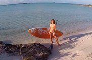 A mix of SUP surfing and paddle boarding in the Turks & Caicos Islands filmed from drone