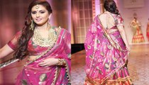 Bollywood actor Huma Qureshi looks Glamorous Awesome & Gorgeous in Pink Dress During walks the ramp at India Bridal Fashion Week