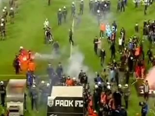 pagritianews.gr :ΠΑΟΚ vs Ο ΛΥΜΠΙΑΚΟΣ 16-04-2014 επεισοδια στη φυσούνα στο τέλος του αγώνα