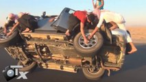 Saudis Again Changing Tires While Driving!