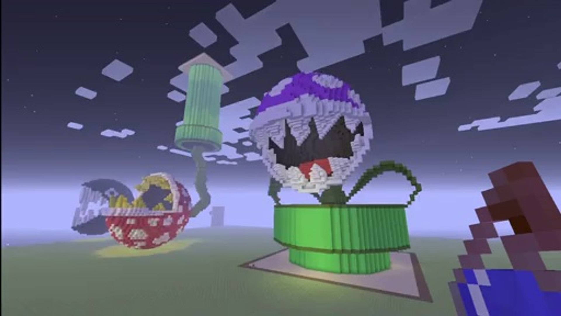 Dorick Minecraft 3d Pixel Art Purple Piranha Plant Statue From Super Mario World Nintendo