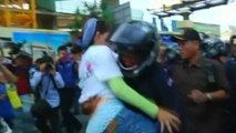 Demonstrators clash with police in Cambodia