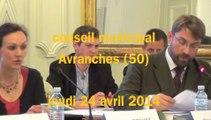 conseil municipal à Avranches le 24 avril 2014 : élections membres de commissions et conseils d'administration