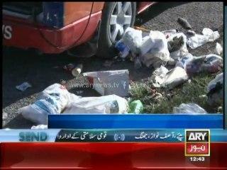 Students throw trash on GEO News Van