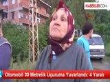 Zonguldak'ta Otomobil Şarampole Devrildi: 4 Yaralı