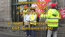 rassemblement du 1er mai 2014 de l'intersyndicale CGT, FSU et Solidaires à Avranches