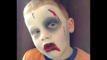 Zombie Face Paint _ Make-up Tutorial Design - Easy Guide - Children's Face Painting Tutorial
