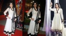 Zarine Khan in Transparent Full Sleeves Elegant White N Black Anarkali