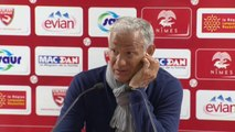 Conférence de presse Nîmes Olympique - Stade Brestois 29 (1-1) : René MARSIGLIA (NIMES) - Alex  DUPONT (SB29) - 2013/2014