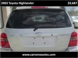 2003 Toyota Highlander Used SUV Baltimore Maryland | CarZone USA