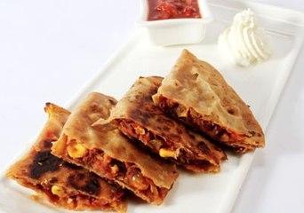 Refried Beans in Roti    Namaste Breakfast