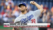 MLB L.A. Dodgers' Clayton Kershaw gets first win after DL stint