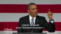 Obama, coupé dans un discours, répond avec humour
