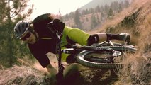 Mountain Biker Demonstrates Extreme Parallel To The Ground Turn