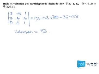Determina el volumen de un paralelepípedo
