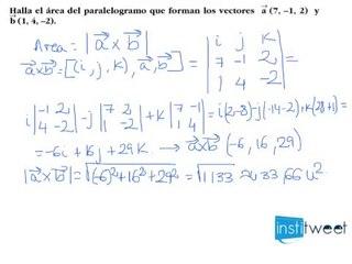 Producto vectorial. Área del paralelogramo