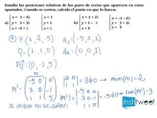 Posición relativa de dos pares de rectas