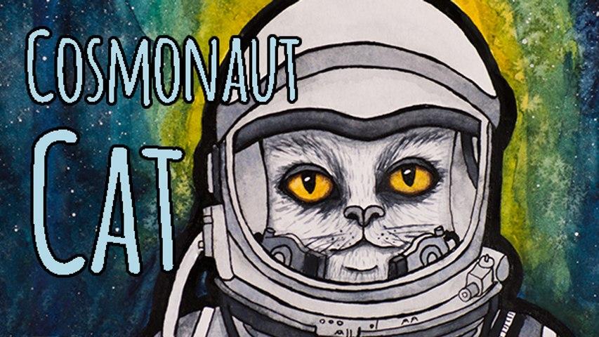 Cosmonaut Cat Watercolor Painting