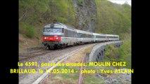 LE VENTADOUR, INTERCITES, BORDEAUX- CLERMONT-FD, au Pont des PARJADIS, CHANAT-LA-MOUTEYRE, et à LESPINASSE