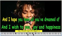 Whitney Houston - I will always love you- Karaoke instrumetal version with lirycs on the screen and piano