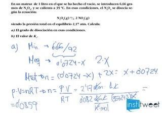 Determinación del grado de disociación y Kc