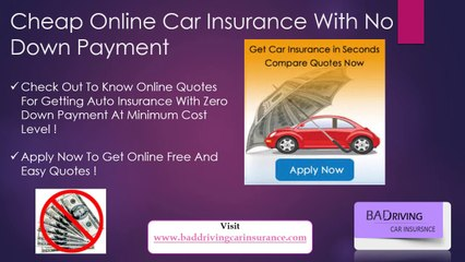 Car Insurance With No Down Payment Zero Deposit Now