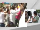 Polis amiri İMC TV canlı yayın aracına sığınmak zorunda kaldı