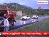 Otomobil, Kayganlaşan Yolda Şarampole Devrildi: 2 Yaralı
