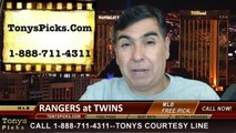 Minnesota Twins vs. Texas Rangers Pick Prediction MLB Odds Preview 5-29-2014