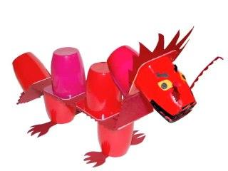 Dragon Rouge Pot De Yaourt Et Papier Tête à Modeler