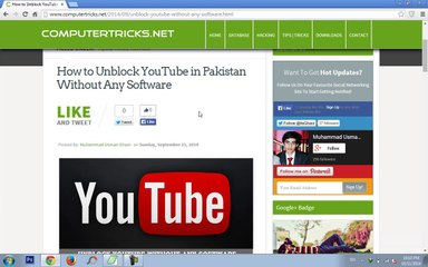 How to Open Youtube in Pakistan without Any Software