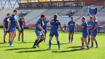 Echauffement dans la bonne humeur au Stade des Alpes avant la mise en place pour FCG-Brive