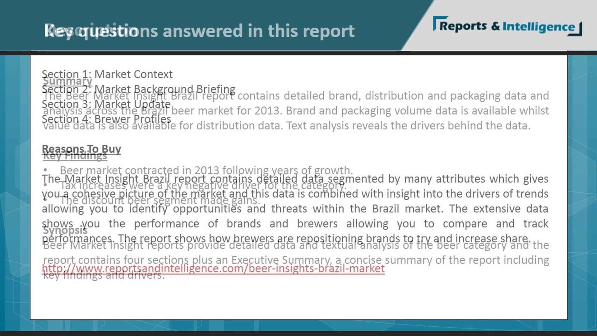 Brazil Beer Market, trends, forecasts, size, market analysis: Reportsandintelligence