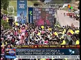 Felicita Santos a ciclista Nairo Quintana por ganar Giro de Italia