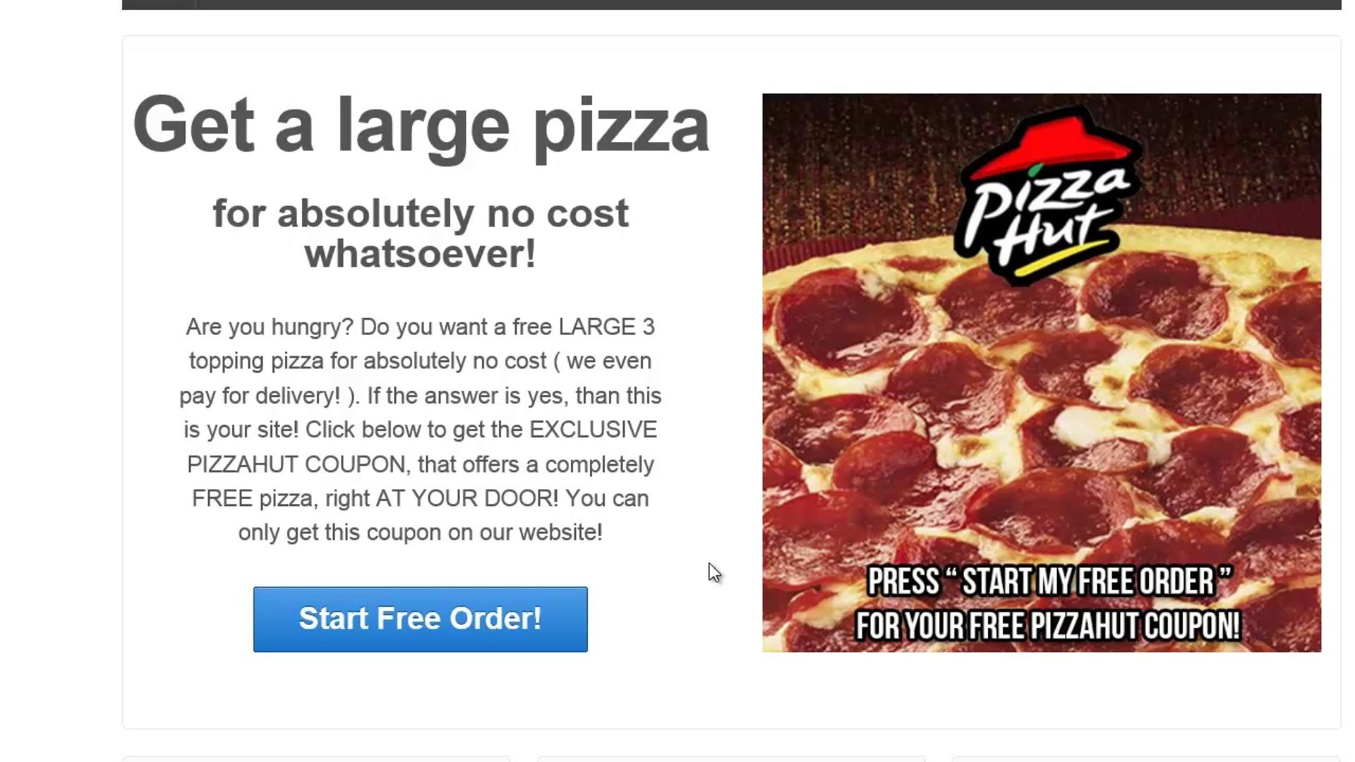 Free pizza hut coupon Get a LARGE 3 TOPPING PIZZA Free Mobile and Fast Food Coupons
