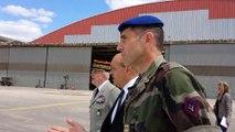 Revue des troupes par Jean-Yves Le Drian à Caen
