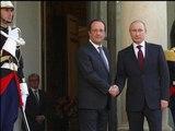 """Débarquement: Vladimir Poutine arrive à l'Elysée pour """"souper"""" avec François Hollande - 05/06"""