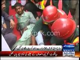 PTI Worker falls from container, breaks his leg, in Sialkot, PTI Jalsa venu