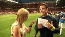 Robbie Williams tears up a Soccer Aid generosity
