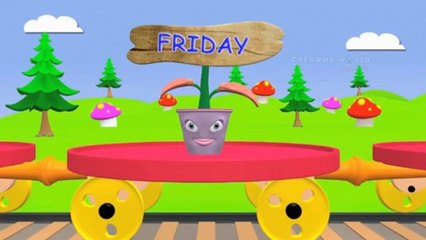 week days rhymes for children with train