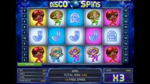 Disco Spins video slot machine Netent free spins bonus game big win online casino