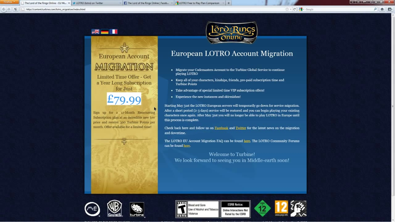 PlayerUp.com – Buy Sell Accounts – European LOTRO Account Migration News