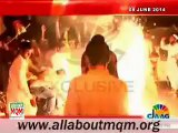 MQM workers celebrating & fire works at Multan house after 2nd day Mr Altaf Hussain released on bail