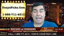 LA Dodgers vs. Colorado Rockies Pick Prediction MLB Odds Preview 6-16-2014